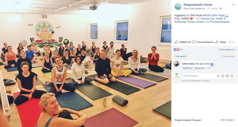 Auf Facebook können Inhalte von Yoga Kursen mit Fans geteilt werden.