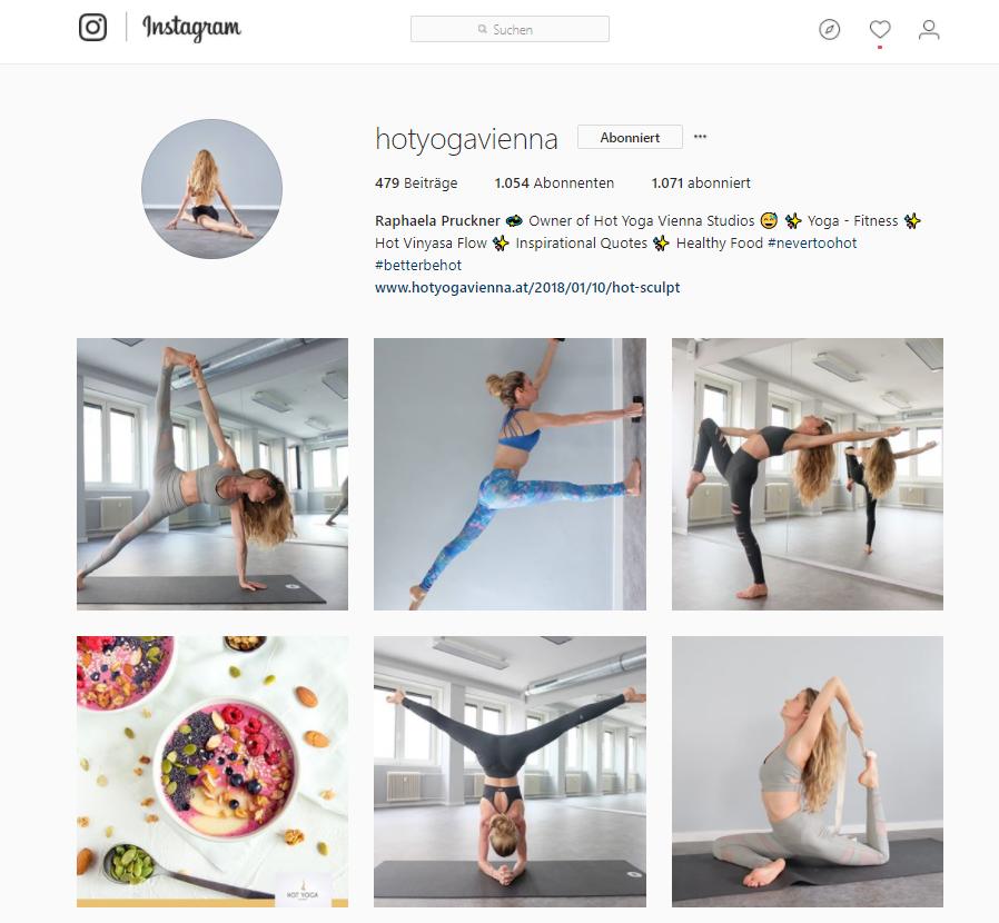 Hot Yoga Vienna postet regelmäßig interessante Beiträge auf Instagram und erhält dadurch Engagement.