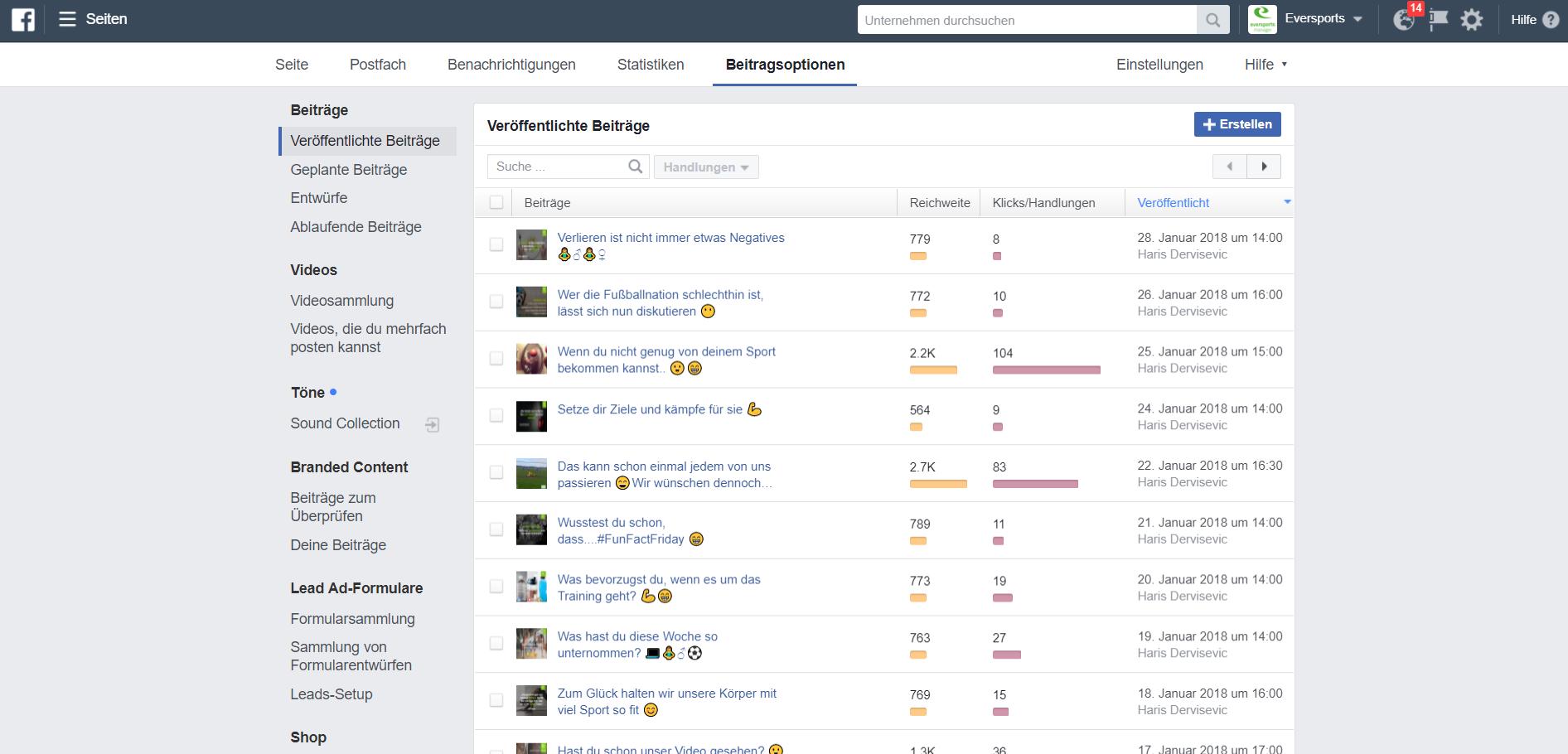 Facebook bietet die Möglichkeit, veröffentlichte und geplante Beiträge einzusehen.