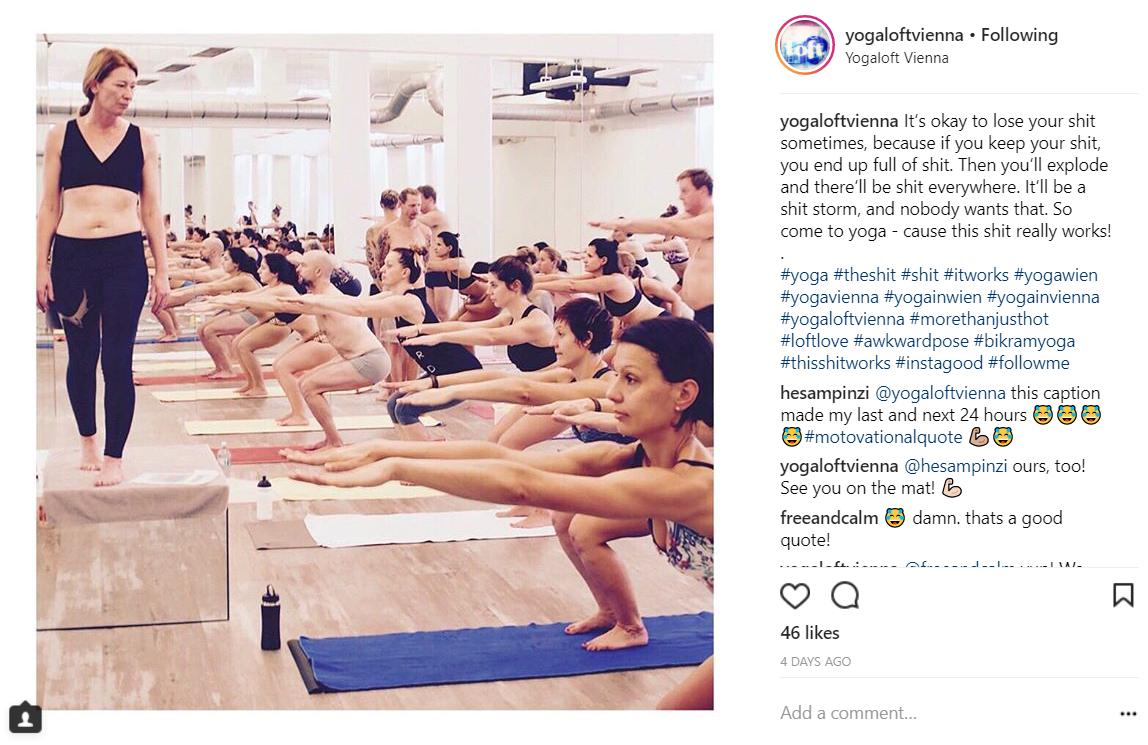 Yoga Loft Vienna verwendet Facebook und Instagram, um mit Kunden in Kontakt zu treten.